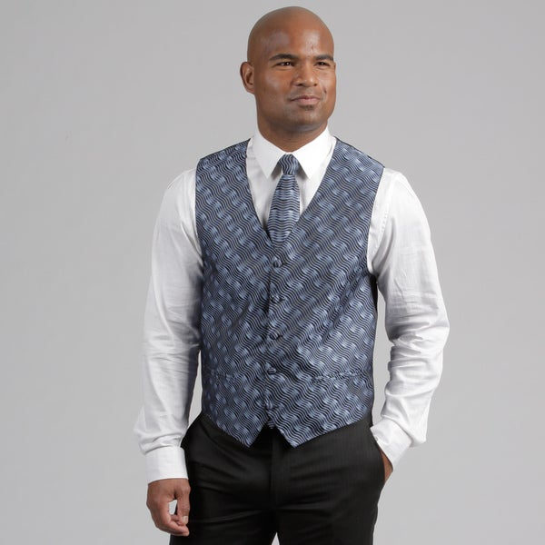 Ferrecci Men's Navy Four-piece Vest