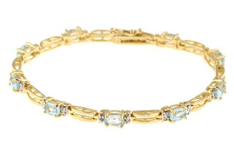 Glitzy Rocks Goldplated Blue Topaz Diamond Bracelet