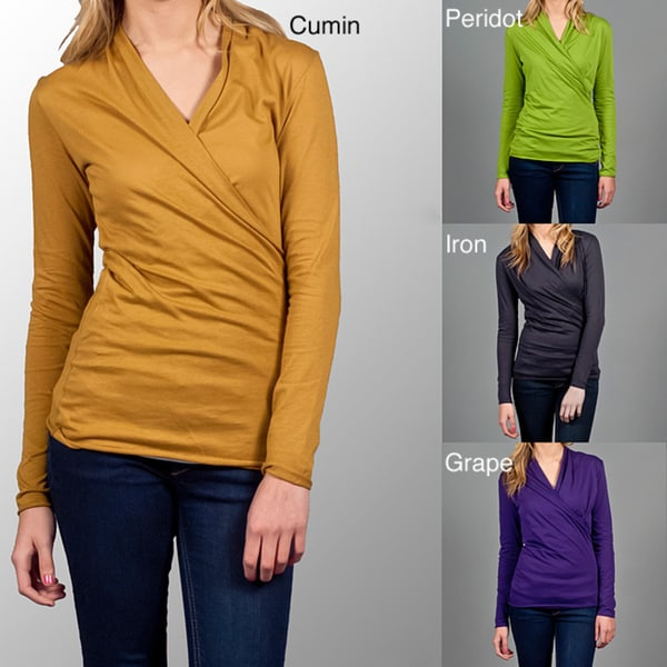 AtoZ Women's Long-sleeve Ruched Wrap Top