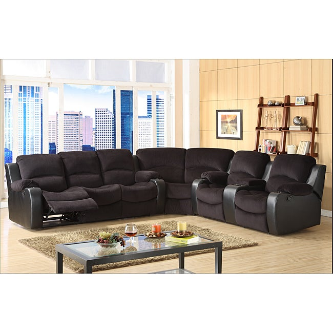 Tyson Microfiber Reclining 3 Piece Sectional Set Free