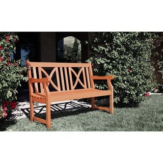 Softcross 4 Foot Eucalyptus Wood Outdoor Garden Bench