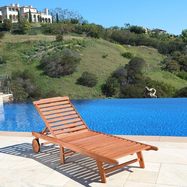 Eucalyptus Wood Outdoor Single Chaise Lounge : wood chaise lounge - Sectionals, Sofas & Couches