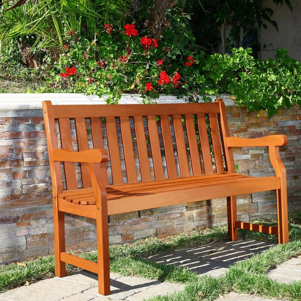 Shop Henley 2 Seater Eucalyptus Wood Outdoor Bench Free Shipping