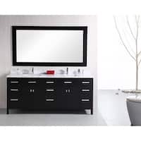 Design Element London 78-inch Double Sink Espresso Vanity with White Carrera Marble Top