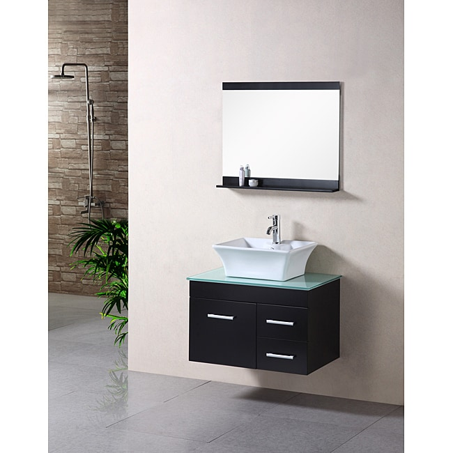 shop design element madrid espresso 30 inch floating vanity set free shipping today. Black Bedroom Furniture Sets. Home Design Ideas