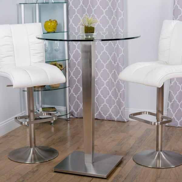 32-inch Round Glass Brushed Stainless Steel Pub Table