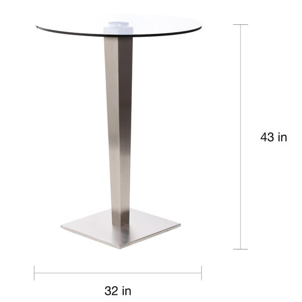 43 Inch Round Glass Brushed Stainless Steel Pub Table   Free Shipping Today    Overstock.com   14162553