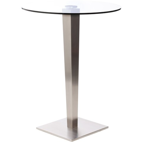 32-inch Round Glass Brushed Stainless Steel Pub Table - N/A