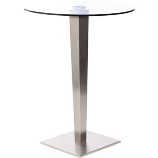 32 Inch Round Glass Brushed Stainless Steel Pub Table