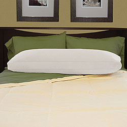 White Brushed Cotton Natural Feather-filled Body Pillow with Cover