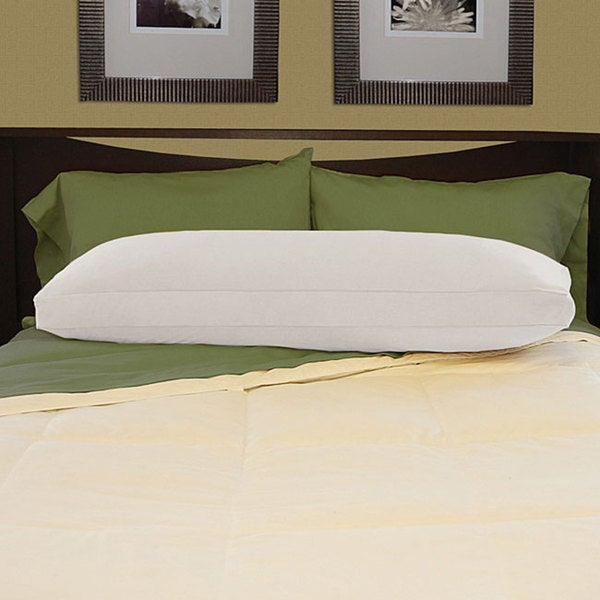 White Brushed Cotton Natural Feather-filled Body Pillow with Cover. Opens flyout.