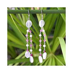 Handmade Sterling Silver 'Shimmer Perfection' Rose Quartz Earrings (Thailand)