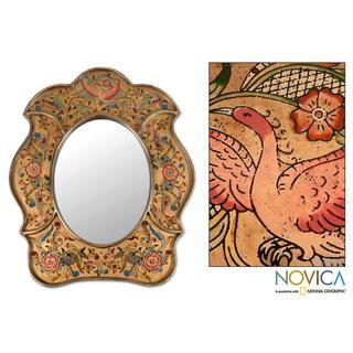 Handmade Painted Glass 'Garden of Gold' Mirror (Peru) - Gold
