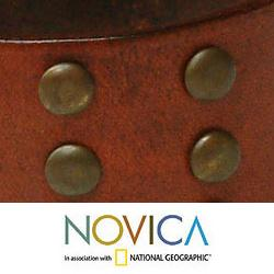 Handcrafted Leather 'Warrior' Bracelet (Indonesia)