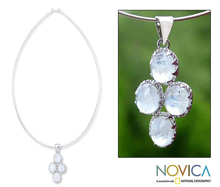 Sterling Silver 'Morning Frost' Moonstone Necklace (India)