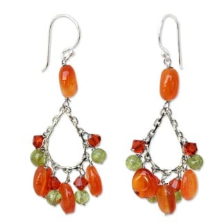 Dewdrops Orange Carnelian and Green Peridot Handcrafted Bohemian 925 Sterling Silver Womens Dangle Earrings (Thailand)