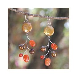 Handmade Pearl 'Mesmerizing' Carnelian Earrings (5mm,13 mm) (Thailand)