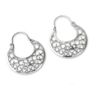 Handmade Sterling Silver 'Climbing Vines' Earrings (Peru)
