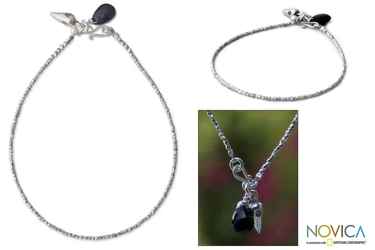 Silver 'Harmony' Pearl and Black Spinel Bracelet (3 mm) (Thailand)