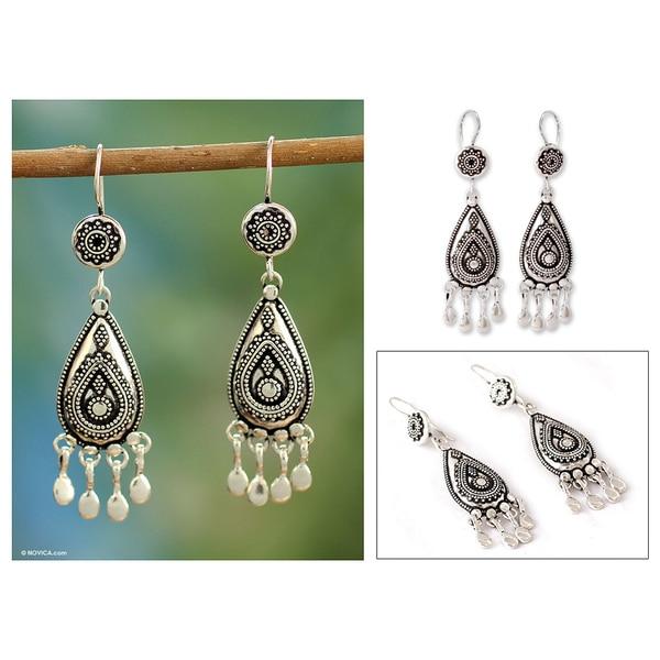 Handmade Sterling Silver 'Silver Dancer' Chandelier Earrings (India)