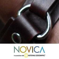 Men's Handcrafted Leather 'Bold Brown' Bracelet (Indonesia)