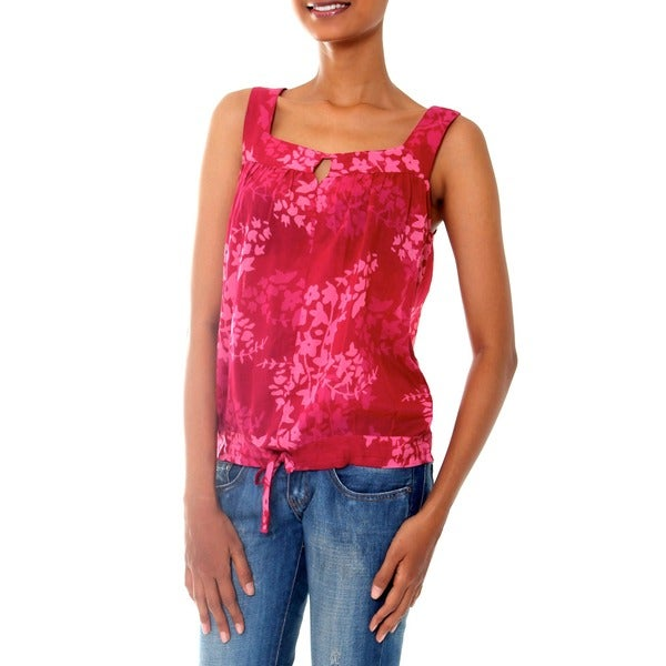 Cotton 'Cool Rose Blossom' Batik Top (Indonesia)