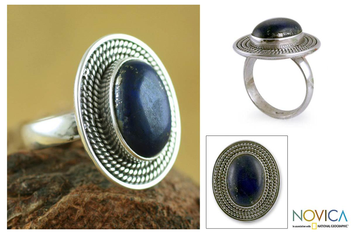 Handmade Sterling Silver 'Mystic Intuition' Lapis Lazuli Cocktail Ring (India)