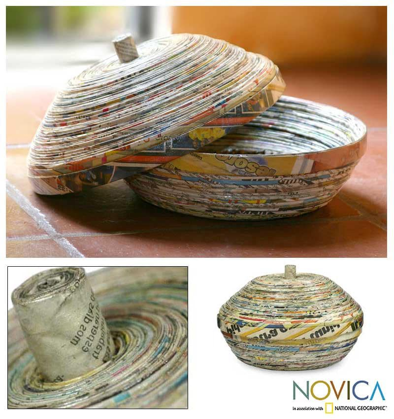 Handmade Recycled Paper 'News From Guatemala' Decorative Box (Guatemala)