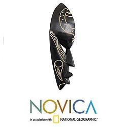 Sese Wood 'Sankofa Bird' Ghanaian Mask (Ghana)