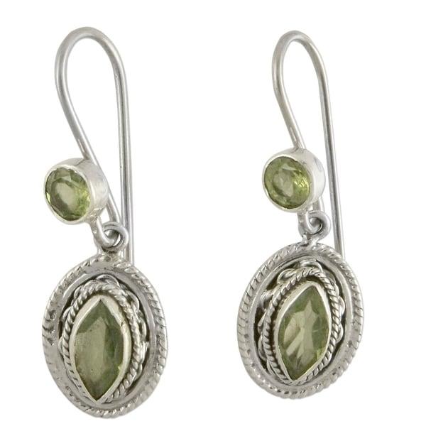 714ed85ad Handmade Sterling Silver 'Springtime Muse' Peridot Dangle Earrings  (