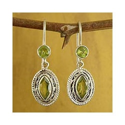 Sterling Silver 'Springtime Muse' Peridot Dangle Earrings (India)