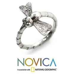 Handmade Sterling Silver 'Dragonfly Fortunes' Ring (Indonesia) - Thumbnail 1