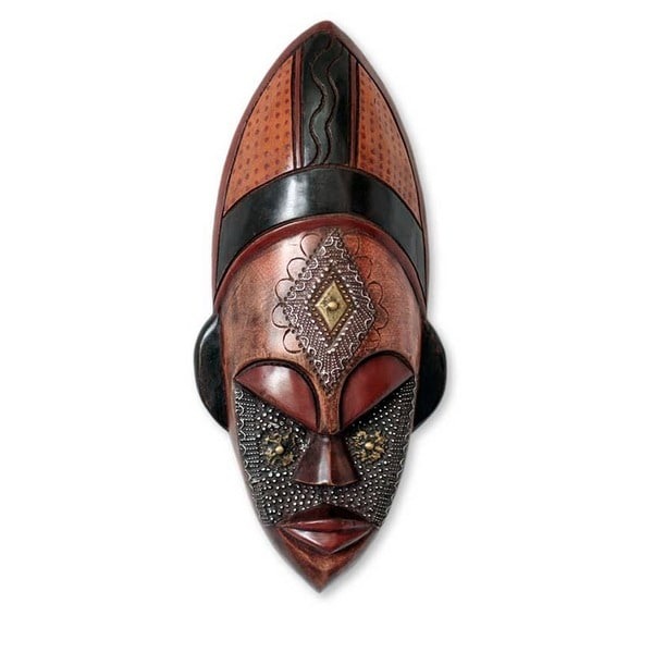 Dan Beauty Womans Serene Face Tribal Artwork Multicolor Sese Wood with Brass and Aluminum Carved Afr