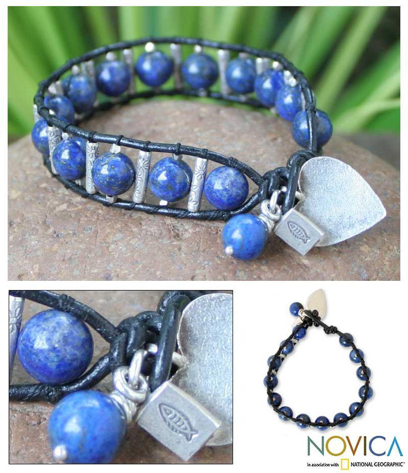 Silver 'Love's Universe' Leather Lapis Lazuli Bracelet (Thailand)