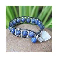 Handmade Sterling Silver 'Love's Universe' Leather Lapis Lazuli Bracelet (Thailand)