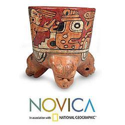 Handcrafted Ceramic 'Maya Divinity' Vessel (El Salvador)