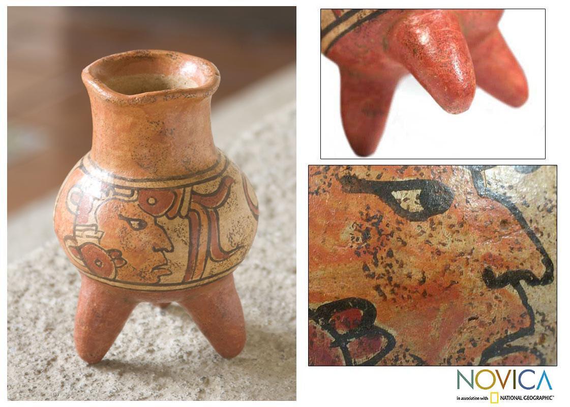 Handmade Ceramic 'Maya Life' Vase (El Salvador)