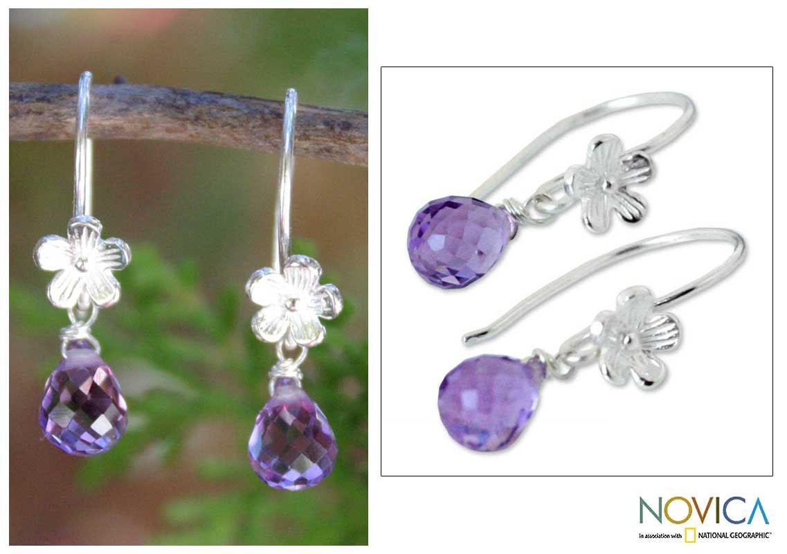 Sterling Silver 'Iris Daisy' Amethyst Earrings (Thailand)