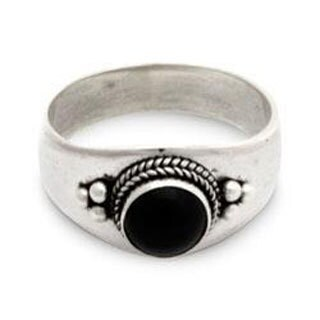 Sterling Silver Promise Onyx Ring Black