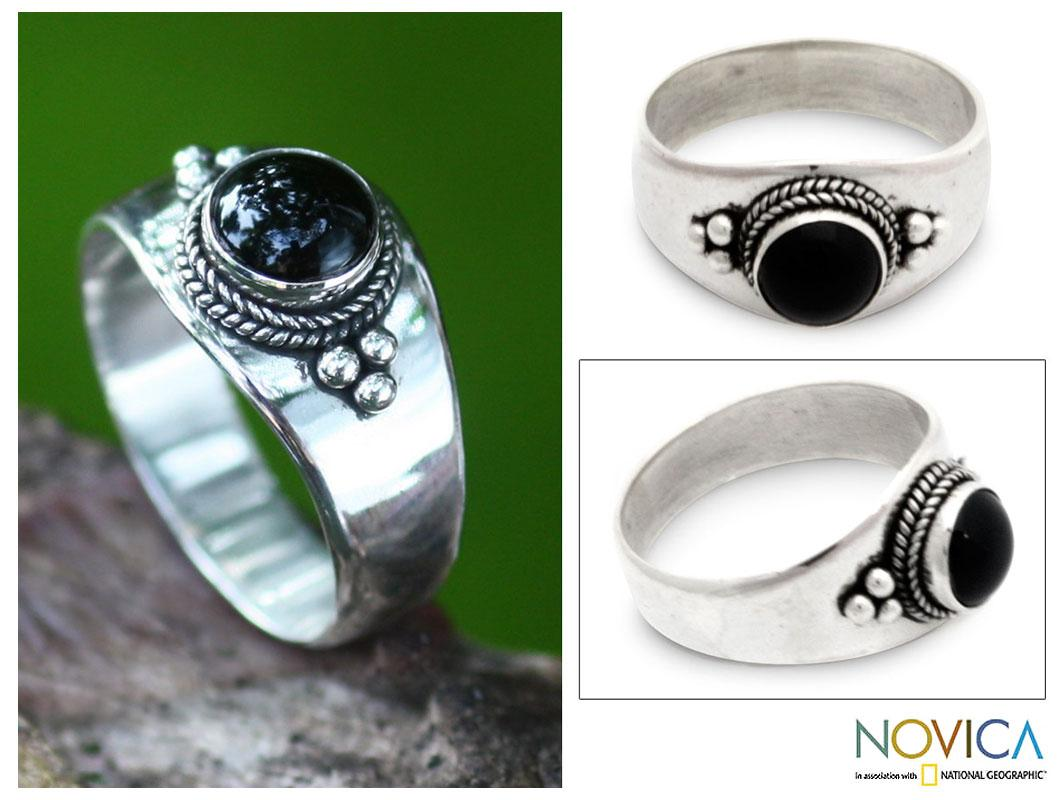 Handmade Sterling Silver 'Promise' Onyx Ring (Indonesia)