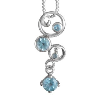 Handmade in Circles Blue Topaz Sterling Silver Necklace (India)