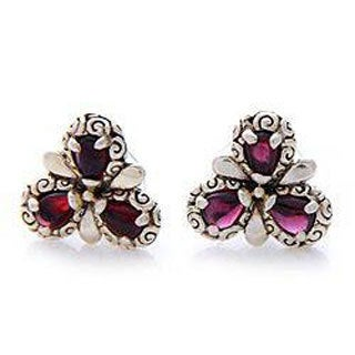 Handmade Sterling Silver 'Red Bougainvillea' Garnet Earrings (Indonesia)