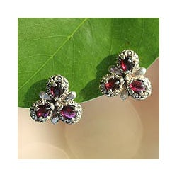 Sterling Silver 'Red Bougainvillea' Garnet Earrings (Indonesia)