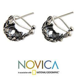 Sterling Silver 'Balinese Geraniums' Earrings (Indonesia) - Thumbnail 1