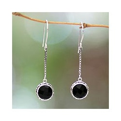 Handmade Sterling Silver 'Faces of the Night' Onyx Earrings (Indonesia)