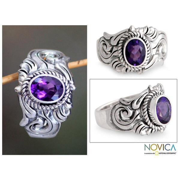 Handmade Sterling Silver Men's 'Majesty' Amethyst Ring (Indonesia)