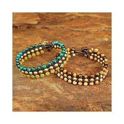 Handmade Set of 2 Multi-gemstone 'Autumn Sukhothai' Bracelets (Thailand)