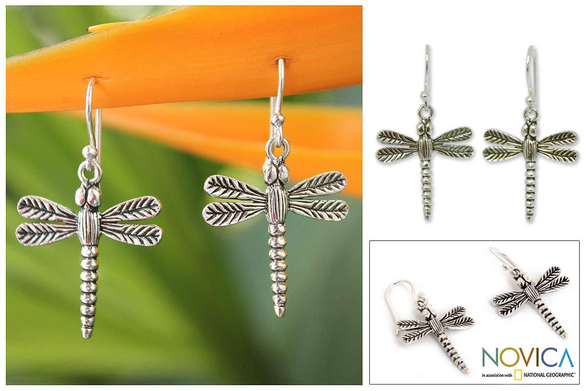 Handmade Sterling Silver Dangle Earrings 'Mekong Dragonflies' (Thailand)