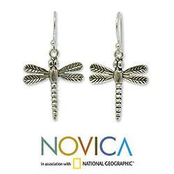 Handmade Sterling Silver Dangle Earrings 'Mekong Dragonflies' (Thailand) - Thumbnail 1