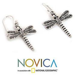 Handmade Sterling Silver Dangle Earrings 'Mekong Dragonflies' (Thailand) - Thumbnail 2